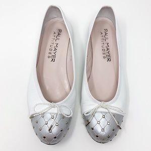 PAUL MAYER white silver flats 8.5
